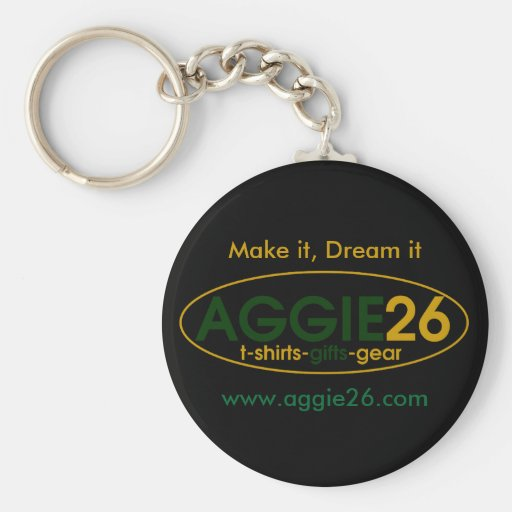 aggie26, Make it, Dream it, www.aggie26.com Basic Round Button Keychain