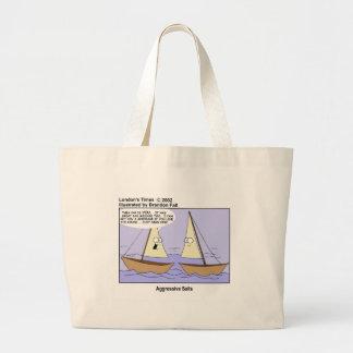 Aggresive Sails Funny Sailboat Cartoon Gifts Tees Large Tote Bag