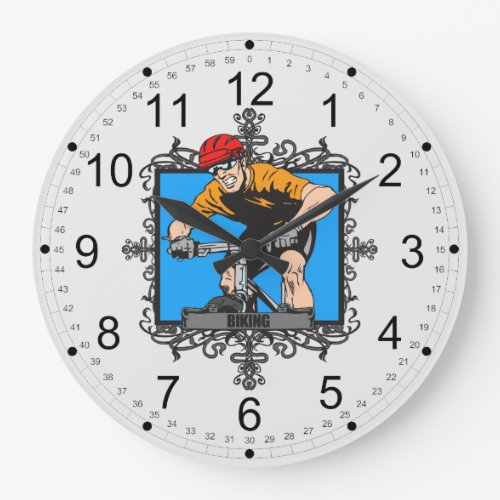 Aggressive Biking Large Clock