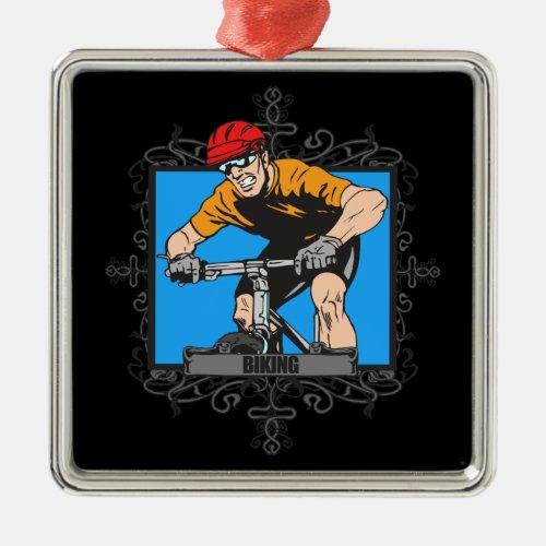 Aggressive Biking Metal Ornament