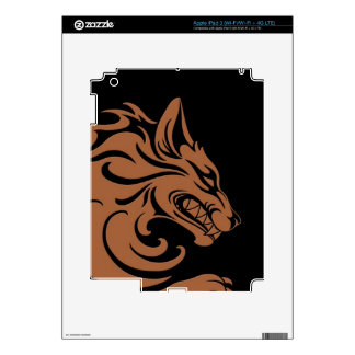 Aggressive Brown and Black Tribal Wolf Decal For iPad 3