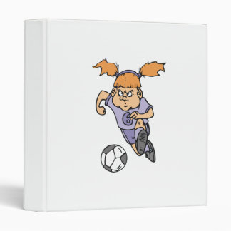 aggressive girl soccer player graphic 3 ring binders