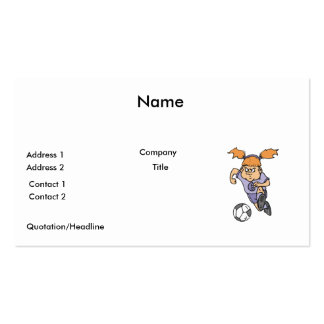 aggressive girl soccer player graphic business card templates
