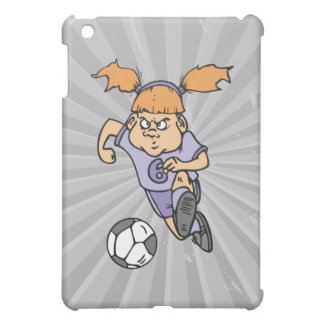 aggressive girl soccer player graphic cover for the iPad mini