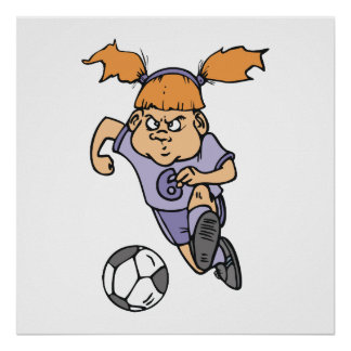 aggressive girl soccer player graphic print