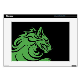 "Aggressive Green and Black Tribal Wolf Decal For 15"" Laptop"