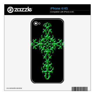 Aggressive Green Gothic Cross iPhone 4S Decal