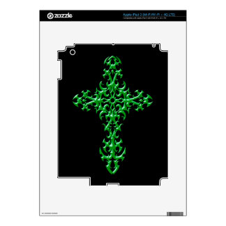 Aggressive Green Gothic Cross Decals For iPad 3