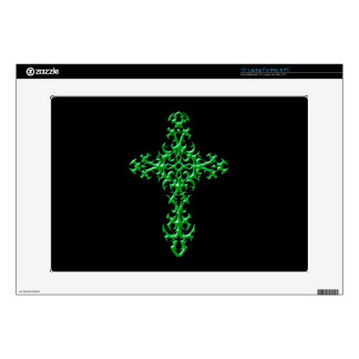 "Aggressive Green Gothic Cross Skin For 15"" Laptop"