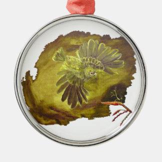 """""""Aggressive Green Parrot"""" Premium Circle Ornament"""