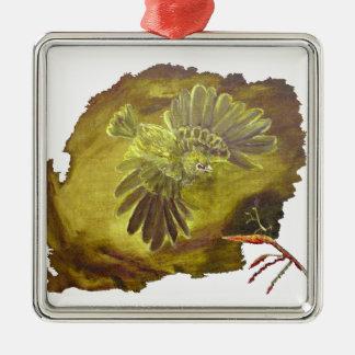 """""""Aggressive Green Parrot"""" Premium Square Ornament"""