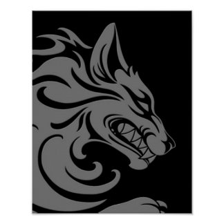 Aggressive Grey and Black Tribal Wolf Poster