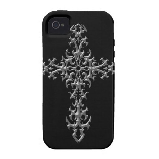 Aggressive Grey Gothic Cross Case For The iPhone 4