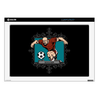 "Aggressive Men's Soccer Decal For 17"" Laptop"