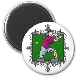 Aggressive Men's Tennis 2 Inch Round Magnet