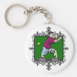 Aggressive Men's Tennis Basic Round Button Keychain