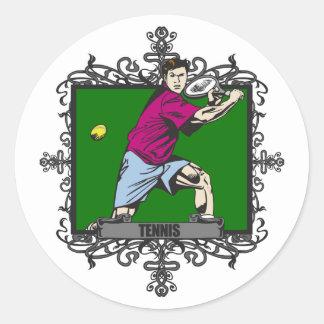 Aggressive Men's Tennis Classic Round Sticker