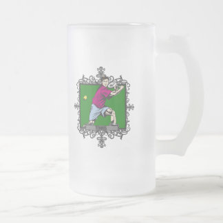 Aggressive Men's Tennis Frosted Glass Beer Mug