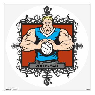 Aggressive Men's Volleyball Wall Sticker