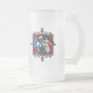Aggressive Motocross Frosted Glass Beer Mug