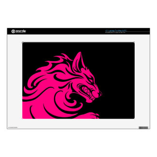 Aggressive Pink and Black Tribal Wolf Laptop Decal