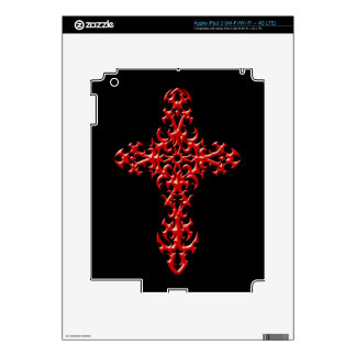 Aggressive Red Gothic Cross Skins For iPad 3