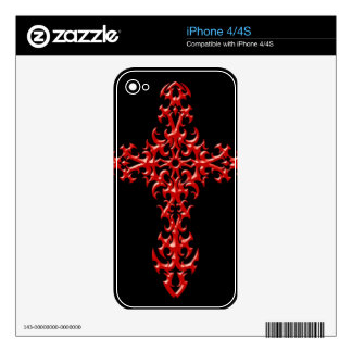 Aggressive Red Gothic Cross Skins For The iPhone 4