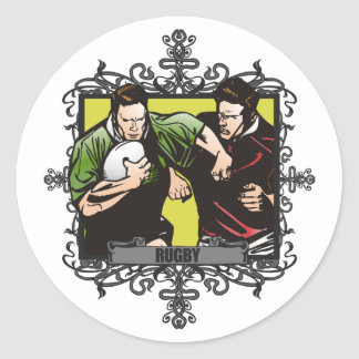 Aggressive Rugby Classic Round Sticker