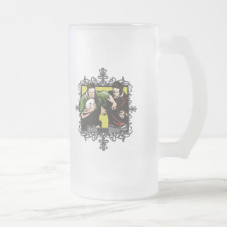Aggressive Rugby Frosted Glass Beer Mug