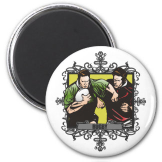 Aggressive Rugby 2 Inch Round Magnet