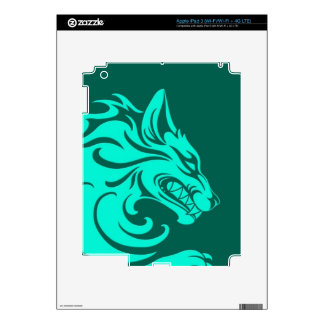 Aggressive Teal Blue Tribal Wolf Decals For iPad 3
