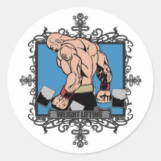 Aggressive Weight Lifting Classic Round Sticker
