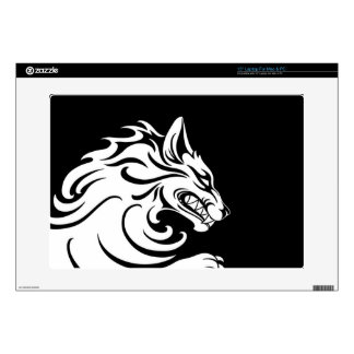 Aggressive White and Black Tribal Wolf Laptop Skin