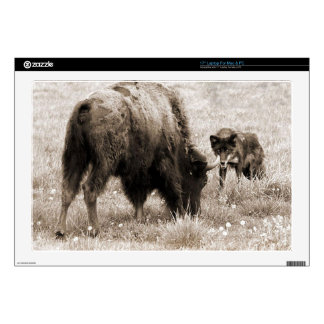 "Aggressive wolf hunting bison 17"" laptop skins"