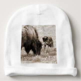 Aggressive wolf hunting bison baby beanie