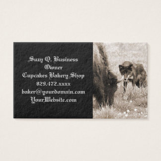 Aggressive wolf hunting bison business card