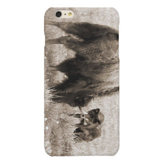 Aggressive wolf hunting bison glossy iPhone 6 plus case