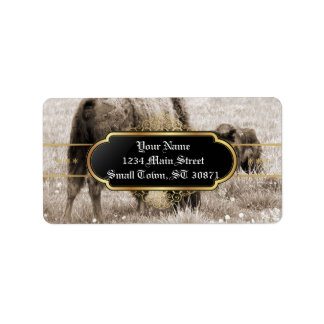 Aggressive wolf hunting bison label