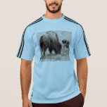 Aggressive wolf hunting bison T-Shirt