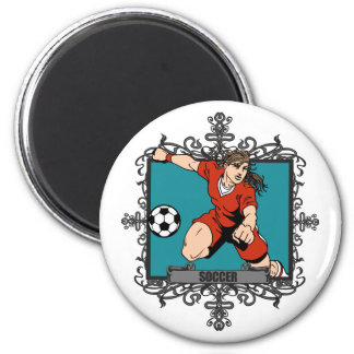 Aggressive Women's Soccer 2 Inch Round Magnet