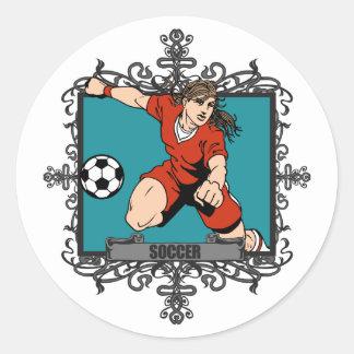 Aggressive Women's Soccer Classic Round Sticker
