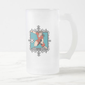 Aggressive Women's Soccer Frosted Glass Beer Mug