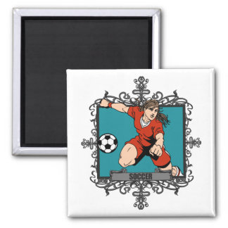Aggressive Women's Soccer Magnets