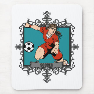 Aggressive Women's Soccer Mouse Pad