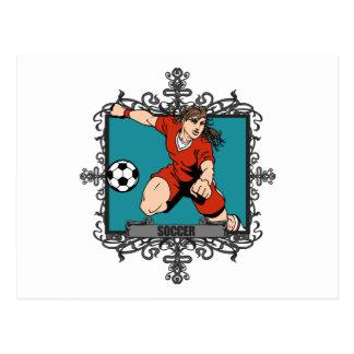 Aggressive Women's Soccer Postcard