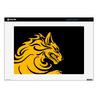 Aggressive Yellow and Black Tribal Wolf Laptop Decal