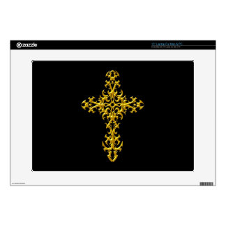 "Aggressive Yellow Gothic Cross Skin For 15"" Laptop"