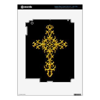 Aggressive Yellow Gothic Cross iPad 3 Decal