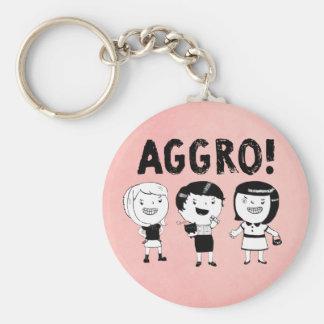 AGGRO Girls Basic Round Button Keychain