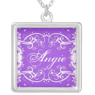 """Agie"" on purple flourish swirls necklace"